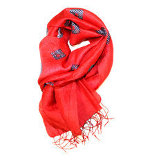 Scarf Stole Krama Silk Tie and Dye Cambodia Design Red Ambel Sarany Shop 37 -160 cm x 45 cm