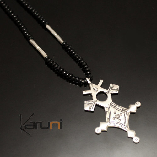 Ethnic Southern Cross Necklace Sterling Silver Jewelry Black Onyx Beads from Tahouha Niger Tuareg Tribe Design 09