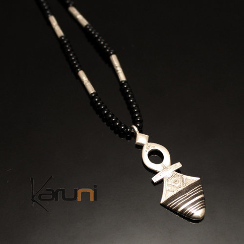 Ethnic Southern Cross Necklace Sterling Silver Ebony Jewelry Black Onyx Beads from Timia Niger Tuareg Tribe Design 14
