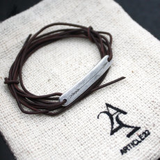 Article 22 ''Peace Bomb'' Leather and Arrow Wrap Bracelet