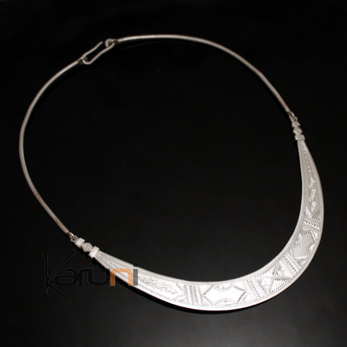 Ethnic Choker Necklace Sterling Silver Jewelry Engraved Large Articulated Torque Tuareg Tribe Design 02