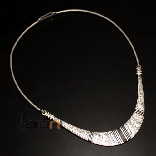 Ethnic Choker Necklace Sterling Silver Jewelry Engraved Large Articulated Torque Tuareg Tribe Design 03 Ebony