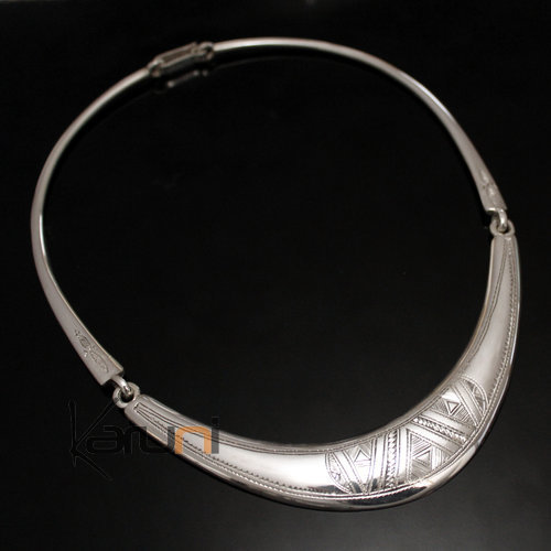 Ethnic Choker Necklace Sterling Silver Jewelry Engraved Large Articulated Torque Tuareg Tribe Design 04