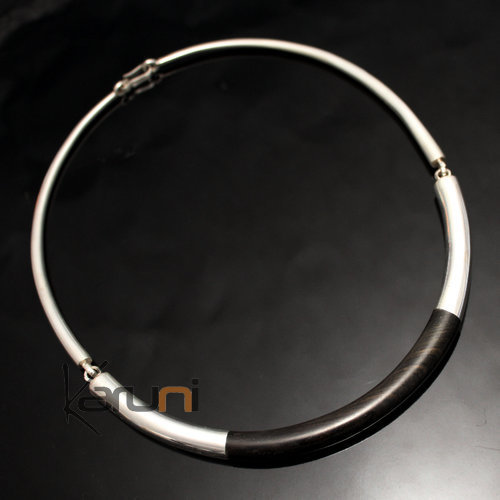Ethnic Choker Necklace Jewelry Sterling Silver Ebony Smooth Round Torque Tuareg Tribe Design 03