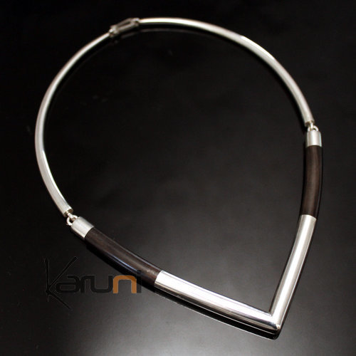 Ethnic Choker Necklace Jewelry Sterling Silver Ebony Smooth Round Torque Tuareg Tribe Design 05