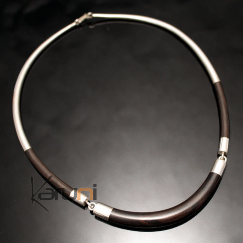 Ethnic Choker Necklace Jewelry Sterling Silver Ebony Smooth Round Torque Tuareg Tribe Design 06