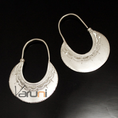Ethnic Hoop Earrings Sterling Silver Jewelry Engraved Flat Tuareg Tribe Design 26 3 cm