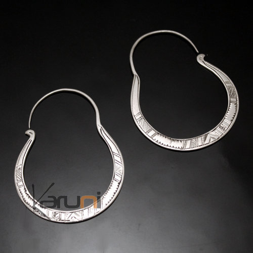 Ethnic Hoop Earrings Sterling Silver Jewelry Engraved Bows Tuareg Tribe Design 32 4 cm