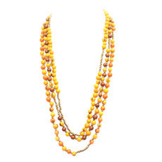 Organic Jewelry Multi Row Long Necklace Beads Vegetable Ivory Seeds Design Guaranda Brown/Yellow/Orange/Golden Tagua and Co