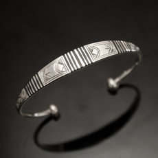 Ethnic Bracelet Sterling Silver Jewelry Large Ebony Men/Women Tuareg Tribe Design 18