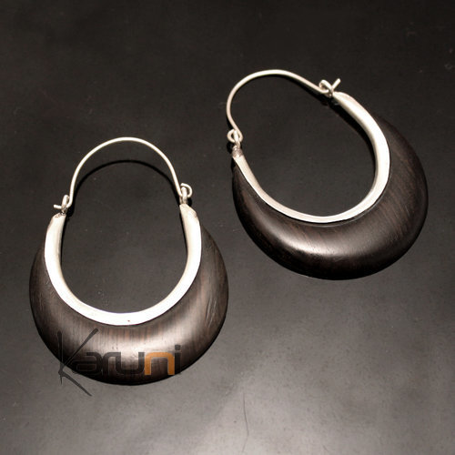 Ethnic Hoop Earrings Sterling Silver Jewelry Flat Ebony Tuareg Tribe Design 42