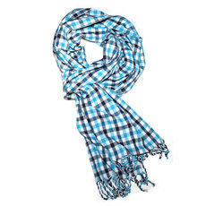 Scarf Stole Krama Cotton Cambodia Design Men/Women Big Checks Plaid Bassac Sarany Shop Turquoise Blue/White 200x45 cm