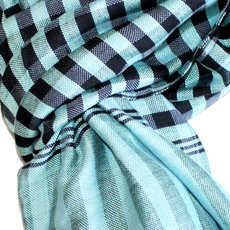 Scarf Stole Krama Cotton Cambodia Design Men/Women Big Checks Plaid Bassac Sarany Shop Black/Water Green 160x80 cm