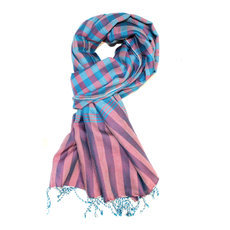 Scarf Stole Krama Cotton Cambodia Design Men/Women Big Checks Plaid Bassac Sarany Shop Turquoise Blue/Pink 160x85 cm