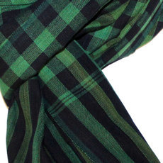 Scarf Stole Krama Cotton Cambodia Design Men/Women Big Checks Plaid Bassac Sarany Shop Dark Green/Blue 160x60 cm