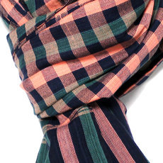 Scarf Stole Krama Cotton Cambodia Design Men/Women Big Checks Plaid Bassac Sarany Shop Dark Green/Pink 170x60 cm