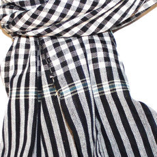 Scarf Stole Krama Cotton Cambodia Design Men/Women Big Checks Plaid Bassac Sarany Shop Black/White 140x40 cm