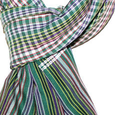 Scarf Stole Krama Cotton Cambodia Design Men/Women Big Checks Plaid Bassac Sarany Shop Green/Purple/Red 125x50 cm