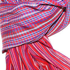 Scarf Stole Krama Cotton Cambodia Design Men/Women Big Checks Plaid Bassac Sarany Shop Red/Purple 125x50 cm