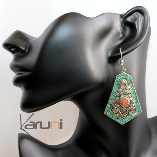 Berber Turquoise and Coral Drops Earrings