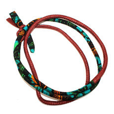 African Jewelry Fabric Chain Necklace Bracelet Belt Design Toutencordon 170 cm 12 Brown/Green  TOUBAB PARIS