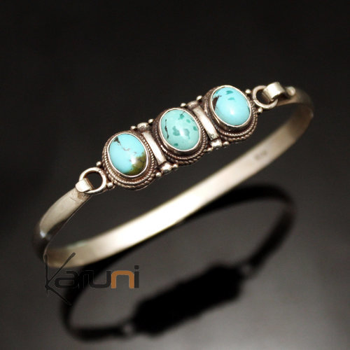 Indian Ethnic Jewelry 925 Sterling Silver Bracelet Nepal 34 Link Bangle 3 Stones Turquoise Filigranes Newari