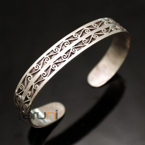 Indian Ethnic Jewelry Sterling Silver Bracelet 925 Nepal 61 Adjustable Bangle Flat Filigranes Male / Female