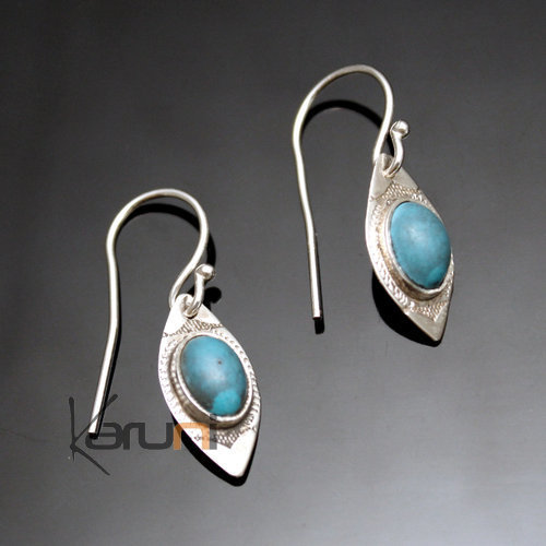 Ethnic Earrings Sterling Silver Jewelry Small Leaf Turquoise Tuareg Tribe Design 61