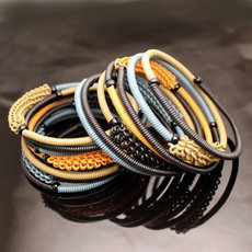 Tribal Jewelry Bracelet Bangles Fashion Spiral Zulu African Design Telephone Wire Mahatsara 5 cm Beige/Blue Grey/Orange/Black
