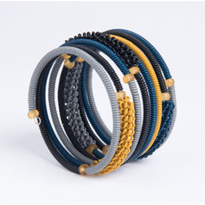 Tribal Jewelry Bracelet Bangles Fashion Spiral Zulu African Design Telephone Wire Mahatsara 5 cm Ocre/Black/Blue/Grey