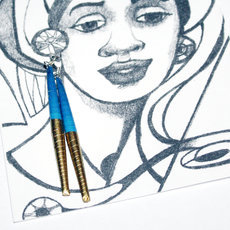 Ethnic African Jewelry Fashion Long Drop Earrings Mahatsara Navy Blue Quazi Design
