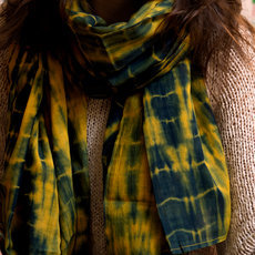 Men's Stoles Scarves for Men Tie and Dye Fabric Woven Cotton Design Blue Yellow Dana Esteline