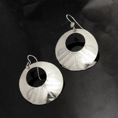 Fulani Earrings Plated Silver Flat Hoops 3 cm 1,2 inches African Ethnic Jewelry Mali