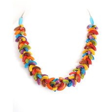 Organic Jewelry Beads Necklace Leaves Vegetable Ivory Seeds Design Agrio Multicolor Tagua and Co