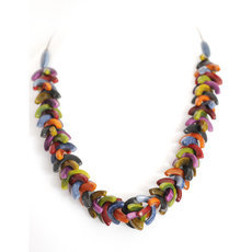 Organic Jewelry Beads Necklace Leaves Vegetable Ivory Seeds Design Agrio Multicolor Otono Tagua and Co