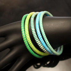 Flip Flop Ethnic African jewelry Plastic Bracelets Jokko Recycled Large Fair Trade Men Women 04 Turquoise Blue/Green (x5)
