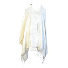 Women's Poncho Mantle for Women Ethiopian Fabric Woven Silk Cotton Design Joy White Dana Esteline