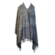 Women's Poncho Mantle for Women Ethiopian Fabric Woven Silk Cotton Design Joy Grey Dana Esteline