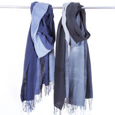 Women's Stoles Scarves for Women Ethiopian Fabric Woven Cotton Design Negatu Grey or Blue Dana Esteline