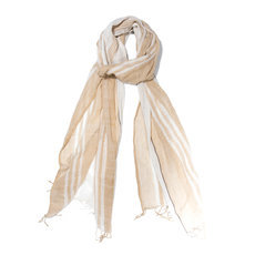 Men's Stoles Scarves for Men Ethiopian Fabric Woven Cotton Design Zulu Beige Natural Shades Dana Esteline