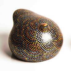 African Pottery Handcrafted Home Decor Silver/Gold/Copper Guinea Fowl from Ethiopia Dana Esteline 16 cm
