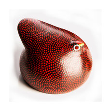 African Pottery Handcrafted Home Decor Guinea Fowl from Ethiopia Dana Esteline Red 12 cm