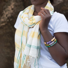 Women's Stoles Scarves for Women Ethiopian Fabric Woven Cotton Design Hannah White Yellow Dana Esteline