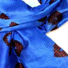 Scarf Stole Krama Silk Tie and Dye Cambodia Design Klein Blue Ambel Sarany Shop 32