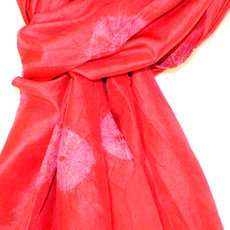 Scarf Stole Krama Silk Tie and Dye Cambodia Design Red Ambel Sarany Shop 39 -160 cm x 45 cm