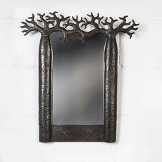 Square mirror curved recycled metal Madagascar 20 cm x 20 cm