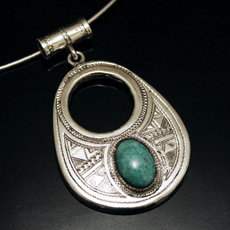 African Necklace Pendant Sterling Silver Ethnic Jewelry Turquoise Howlite Round Tuareg Tribe Design 11