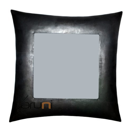 Square mirror curved recycled metal Madagascar 30 cm x 30 cm