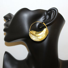 Fulani Earrings Hoops African Ethnic Jewelry Gold Version/Golden Bronze Mali Stylized 4 cm/1.6 inches