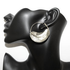 Fulani Earrings Hoops African Ethnic Jewelry Plated Silver Mali Stylized Jumbo 4 cm/1.6 inches